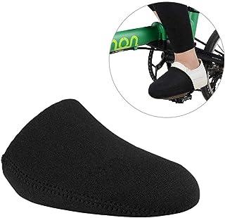 Lamptti Chaussures de Cyclisme Coque Orteil Coque–Coupe-Vent Chaussures de Coque résistant à l'abrasion moitié Shoecover pour VTT/BMX vélos, Noir
