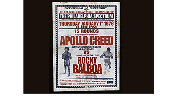 Rocky Balboa VS Apollo Creed Bicentennial Superfight Poster//Print /> Stallone