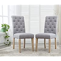 Roundhill Furniture C261GY Binningen Button Tufted Dining Chairs, Set of 2, Gray