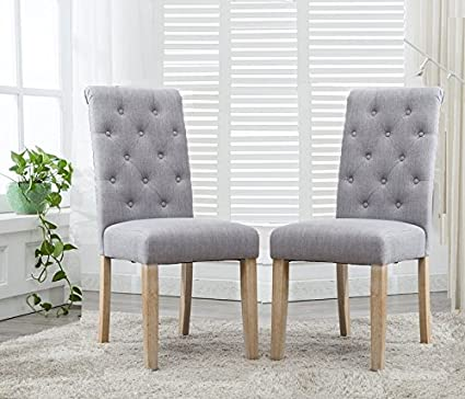 Binningen Gray Fabric Button Tufted Dining Chairs, Set of 2