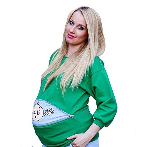 Sunny Pregnant Women Sweater Maternity Long Sleeve Sweatshirt Maternity Cute Baby Peeking (Medium/Maternity Fit, Green) by Sunny