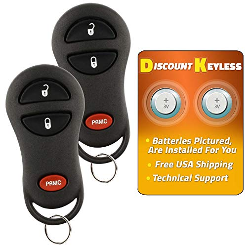 - Discount Keyless Entry Remote Car Key Fob Compatible with Durango Dakota Ram 04686481 (2 Pack)