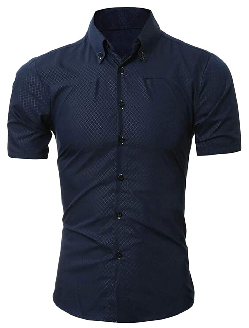 Hokny TD Mens Shirts Short Sleeve Casual Business Button Down Shirts