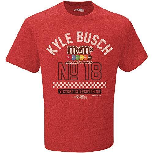 Checkered Flag 2019 NASCAR-Victory-Retro Dual Blend Driver T-Shirt-Kyle Busch #18 M&M's-Heathered Red-XL