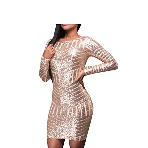 Amazon.com: Eloise Isabel Fashion Champagne Lantejoulas Vestido Sexy Backless Bodycon Mulheres Vestidos de Luxo Vestido de Festa LC22924: Clothing