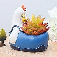Messagee Cute Chick Succulent Pots with Drainage Resin Mini Flower Pot Garden Plants Vase Desk Flower Decoration