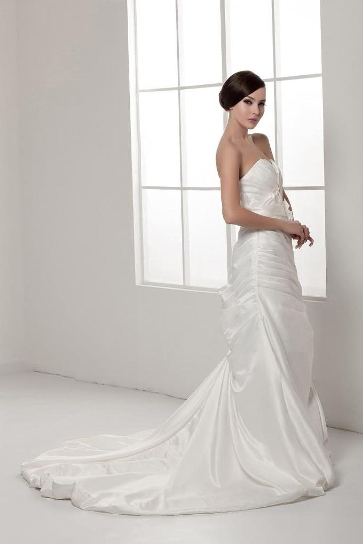 GEORGE BRIDE Elegant Strapless Pleated Satin Wedding Dress
