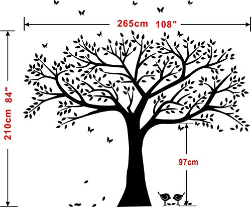 LSKOO Family Photo Frame Tree Wall Decals Family Tree Decal Living Room Home Decor (108'' Wide x 84'' Tall) (Black) by LSKOO (Image #5)