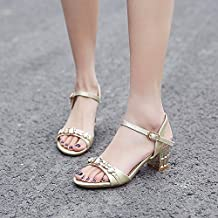GTVERNH-Gem Diamond Sandals Toe Leather Shoes With Thick With Summer All-Match.