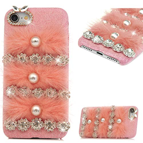 iPhone 7 Case, iPhone 8 Case, MOLLYCOOCLE Winter Fashion Pink Bling Rhinestone Fluff Pearl Design for Women Grils Furry Case for iPhone 7/8 (4.7 inches)