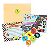 BEYUMI 36 PCS Race Car Invitation Cards Let's Go Race Inspired Party Favor Supplies, Envelopes, Fill-in-Blank Cards and Stickers for Kids Birthday