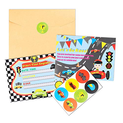 BEYUMI 36 PCS Race Car Invitation Cards Let