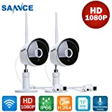 SANNCE 1080P Wireless Security Camera System, 2-pack Outdoor WiFi IP Cameras with Night Vision,IP66 Weatherproof