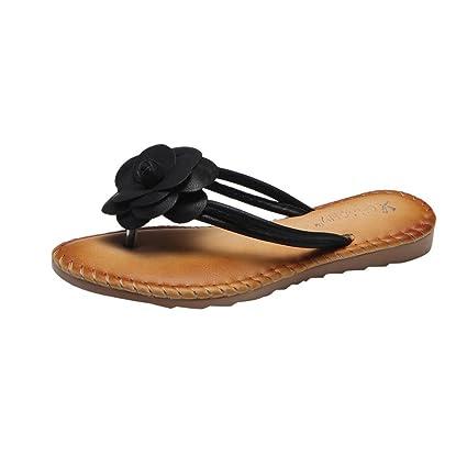 3b332a4101d9 Summer Womens Sandals Flat Flower T-Strap Thong Sllim Flip Flop Casual  Dress Shoes Beach Slipper (US 8.5