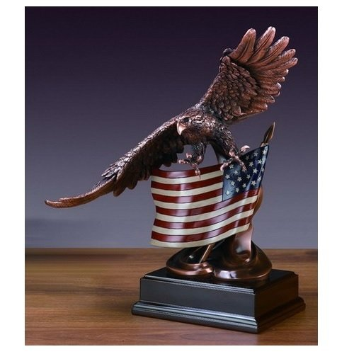 Treasure of Nature Soaring Glory Eagle with American Flag Bronze Finish Sculpture with Base, 15.5 inches H