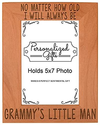 Mothers Day Gifts from Grandson I'll Always Be Grammy's Little Man Perfect Gift for Grandma Natural Wood Engraved 5x7 Portrait Picture Frame - Willow Natural Wood