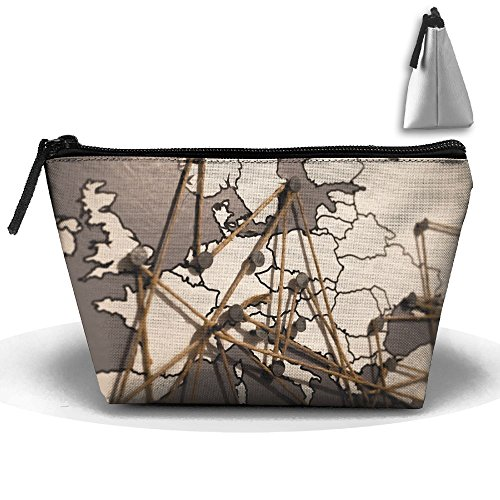 - World Europe Continental Map Makeup Bag Large Trapezoidal Storage Travel Bag Zipper Waterproof