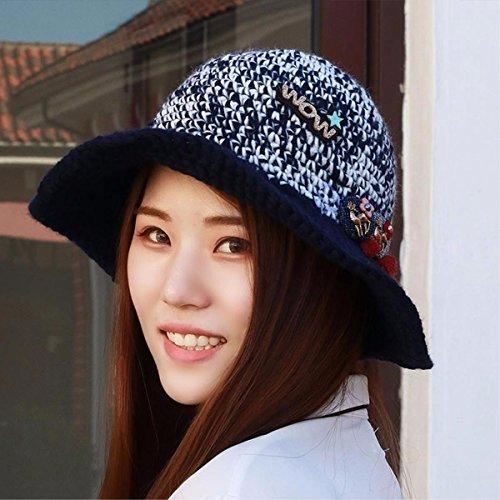 Cartoon El Sombreros Sombrero Mujer De Yangfeifei Negros Encaje Otoño Cuenca Hat Lana Tapa Tejer Precioso Gorro Invierno Los Pescador Estudiantes Azul mz pqPRxS