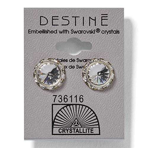 (Crystallite Destine Crystal Rhinestone Rivoli Earrings 12mm Crystal)