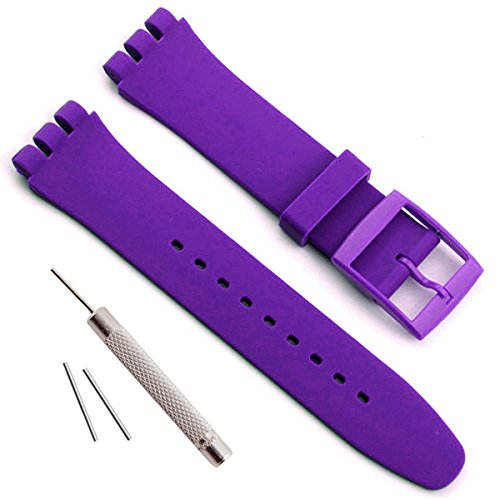 Replacement Waterproof Silicone Rubber Watch Strap Watch Band for Swatch (17mm 19mm 20mm) (17mm, Violet)