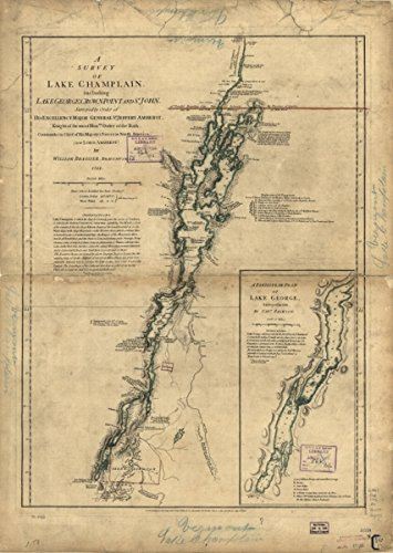 Map: 1776 A survey of Lake Champlain, including Lake George, Crown Point, and St. John|Champlain|Lake|George|Lake|George|Lake NY : Lake|History|New York|Valcour Island|Battle - George Ny Shopping Lake In