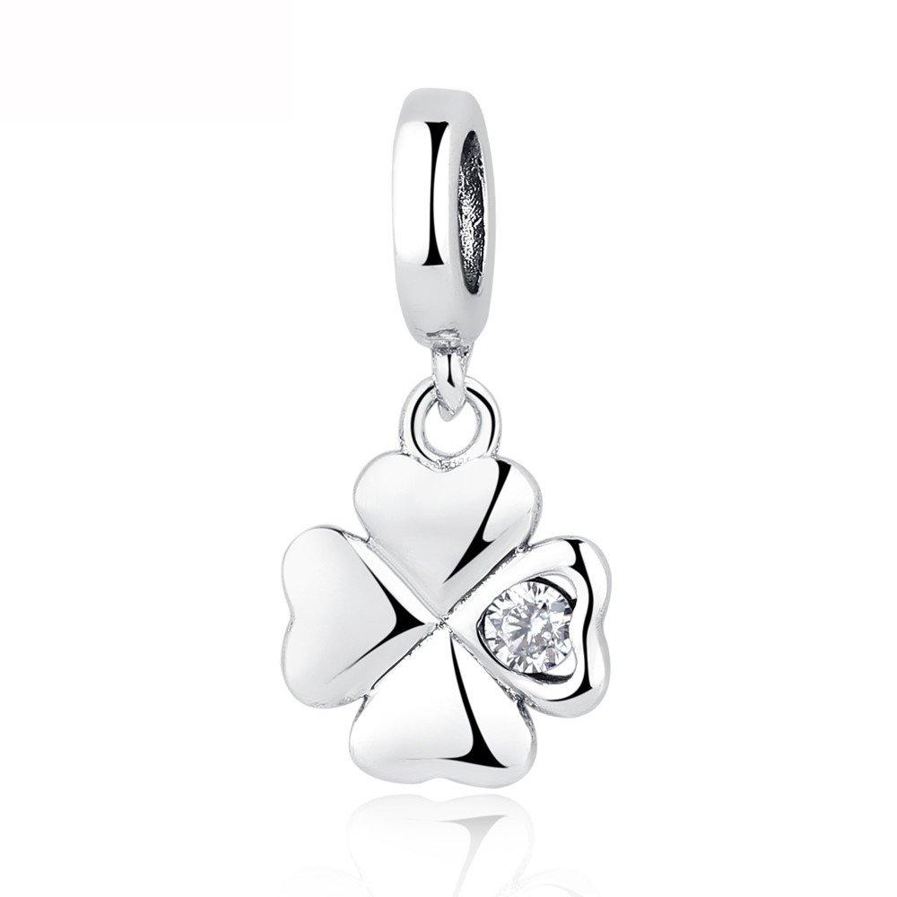 100% 925Sterling Silber Bead Lucky Day Anhänger Charm Kleeblatt Kristall Perlen für Frauen Armbänder DIY Schmuck NBSAMENG YW20523