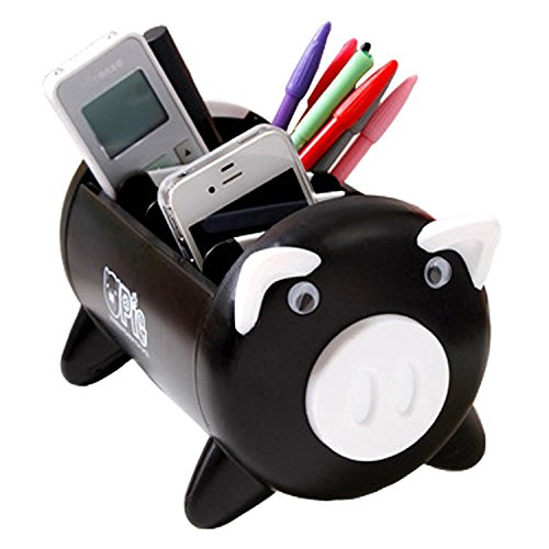 Pacii Creative Pigs Plastic Office Desktop Stationery Pencil Holder Makeup Pen holder Cell Phone Remote Control Storage Box Organizer As Christmas Birthday Gift Home Tool (Black) by Pacii
