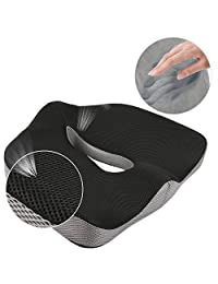 Comfort Memory Foam Seat Cushion/ Car Seat Cushion/ Chair Cushion/ Sciatica Cushion/Coccyx Cushion/ Hemorrhoid Cushion for Lower Back, Tailbone, Sciatica Pain Relief and Hip shaping