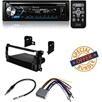 Pioneer Single DIN Car Receiver With Bluetooth W/ CAR CD STEREO RECEIVER DASH INSTALL MOUNTING KIT + WIRE HARNESS + RADIO ANTENNA ADAPTER FOR CHRYSLER + DODGE + JEEP 2004-2008