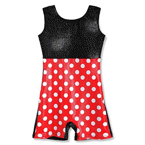 Gymnastics-Leotards-for-Girls-Long-Sleeve-Biketard-Red-Hot-Pink-White-Polka-Dots