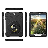 "Galaxy Tab S2 9.7 Inch Case,IVY 360 Degrees Kickstand Case Cover For Samsung Galaxy Tab S2 9.7"" SM-T813 / SM-T817 / SM-T810 With Hand Strap and Gallusus - Black"