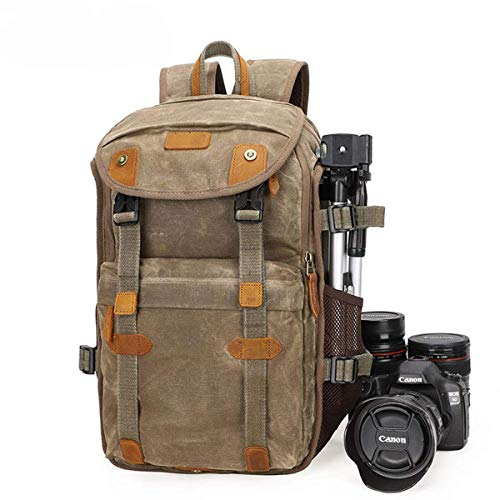 DSLR Camera Backpack,Shockproof Waterproof Anti Theft Photography Casual Travel Bag Canvas Genuine Leather Camera Rucksack for Canon Nikon Sony laptop Tripod Lens -28 20 46cm Khaki (Best Mirrorless Camera Under 500 Uk)