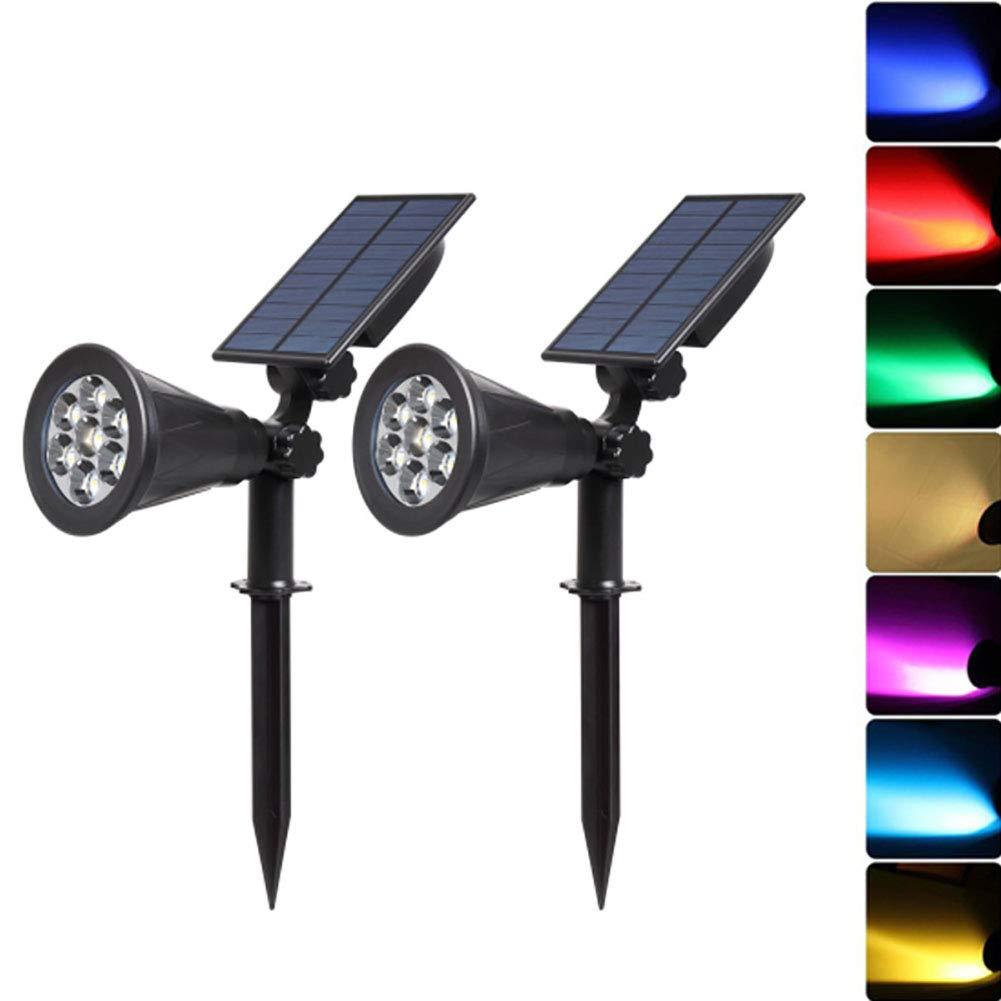 CH808M XFF LED Solar Scheinwerfer 7 LEDs Bunt Wasserdicht Sicherheit Beleuchtung Zum Weg Gehweg Garten (2Pack),CH808M