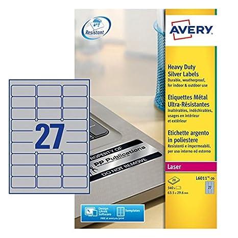 63.5 x 29.6 mm Caja de 20 hojas etiquetas poli/éster Avery L6011-20