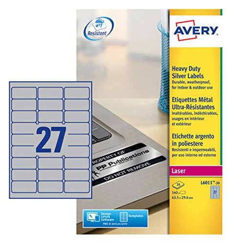 Avery L6011-20 Extra-Strong Adhesive Silver Heavy Duty Labels, 27 Labels Per A4 Sheet