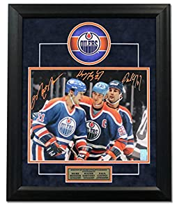 Mark Messier, Wayne Gretzky & Paul Coffey Edmonton Oilers Signed 23x19 Frame - Autographed NHL Photos