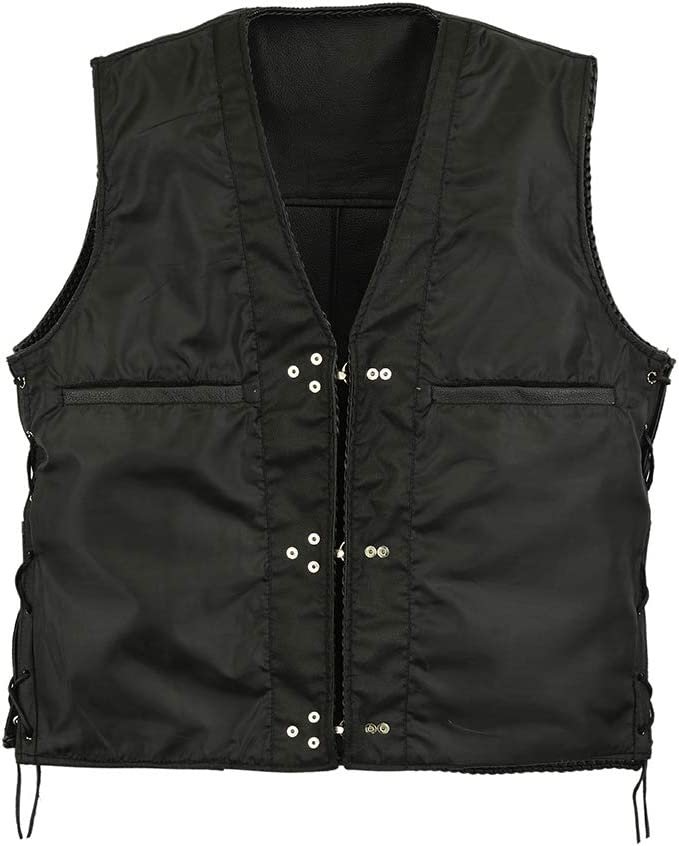 S Leatherick Black Fishhook Style Leather Biker Waistcoat