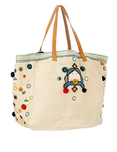 Star Mela Women's Manali Women's Ecru Tote Beach Bag 100% Cotton by STAR MELA (Image #1)