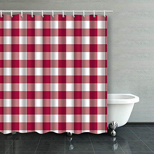 - AileenREE Shower Curtains 78 x 72 Inches Vintage Elegant Pink Red White Plaid Polyester Fabric Mildew Resistant Waterproof Odorless Bathroom Set with Hooks