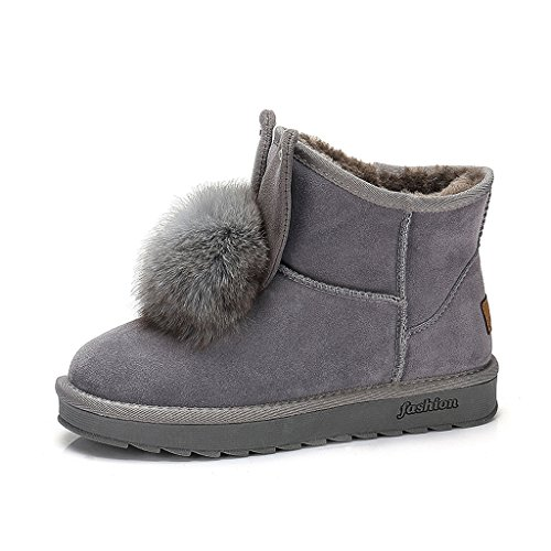 Women's snow boots winter boots casual students warm women flat shoes ( Color : Gray , Size : US:7.5\UK:6.5\EUR:40 )