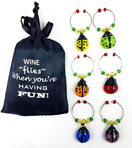 Glass-LadyBug-Wine-Glass-Charms-Hand-Painted-Glass-Set-of-6-with-Sateen-Storage-Bag