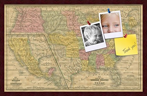 PinPix pin Cork Bulletin Board Made from Canvas, Mid-1800s US Map 32 x 20 Inches (Completed Size) and Framed in Classic Mahogany Frame (PinPix-658)