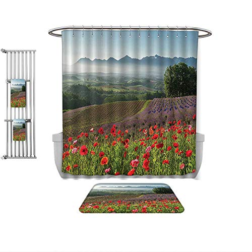 QINYAN-Home Pattern Printing Suit Poppy Decor Poppy Flower Lavender Farm Foggy Morning Agriculture Crops Red Purple, Bath Towels Sets-Multiple Sizes