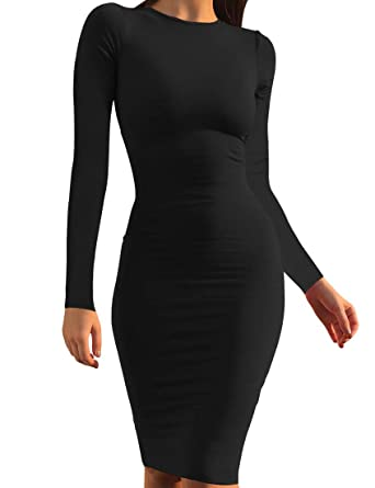 44dfa882d2c6 Mokoru Women's Casual Basic Pencil Dress Sexy Long Sleeve Bodycon Midi Club  Dress, Small,