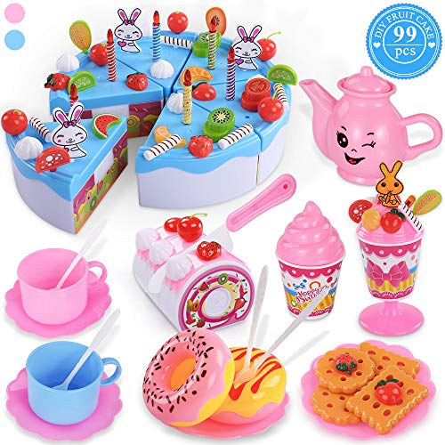 (TEMI Pretend Birthday Cake for Kids, DIY 99 PCS Decorating Party Play Food Toys Set w/ Candles Fruit Dessert, Educational Kitchen Toy for Children, Toddlers, Boys & Girls, Aged 3)
