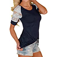 HANYI Women Summer Lace Sleeve Loose Shirt Blouse Casual Tank Tops