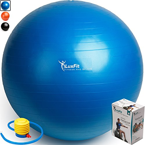 LuxFit Exercise Ball, Premium Extra Thick Yoga Ball '2 Year Warranty' - Swiss Ball Includes Foot Pump. Anti-Burst - Slip Resistant! 45cm, 55cm, 65cm, 75cm, 85cm Size Fitness Balls (Blue, 65cm)