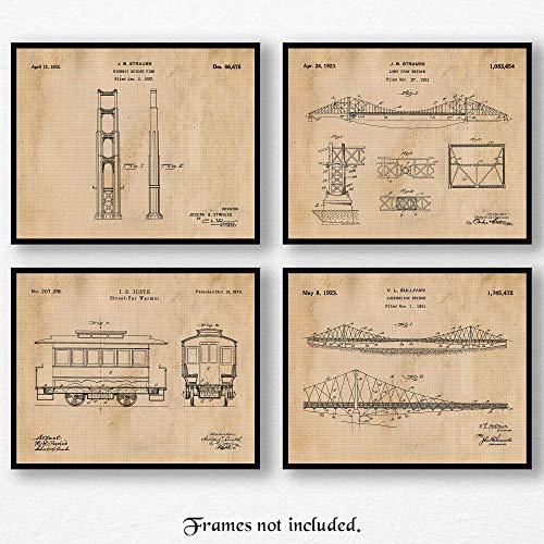 Original San Francisco Golden Gate Bridge & Street Car Patent Art Poster Prints, Set of 4 (8x10) Unframed Photos, Great Wall Art Decor Gifts Under 20 for Home, Office, Garage, Man Cave, Student, Fan