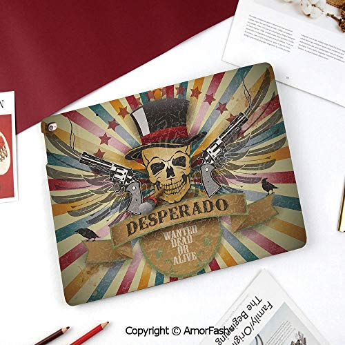 Western Galaxy Tab A 8.0 2015 Model Case,SM-T350 Case,PU Leather Folio Stand Case,Vintage Desperado Emblem Design with Skull in Western Style Wings Colorful Stripes Decorative