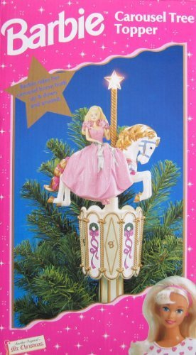 Barbie Carousel Tree Topper - Star Lights Up & Barbie Rides Horse Up, Down & Around! (1997 Mr. Christmas)